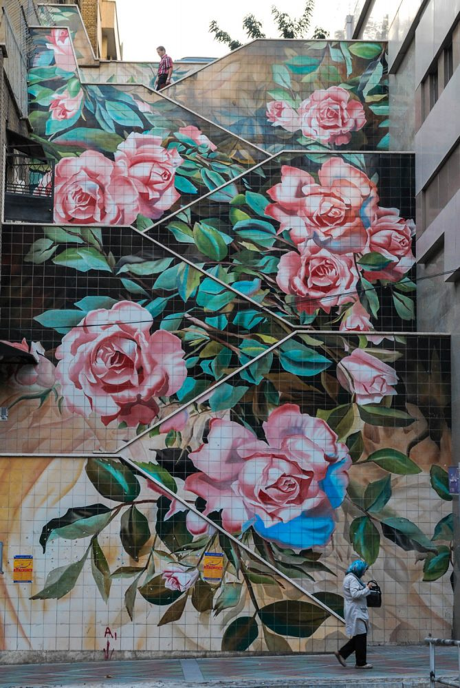 A staircase in Tehran is covered with graffiti of roses – Tommy Nilsson Iran