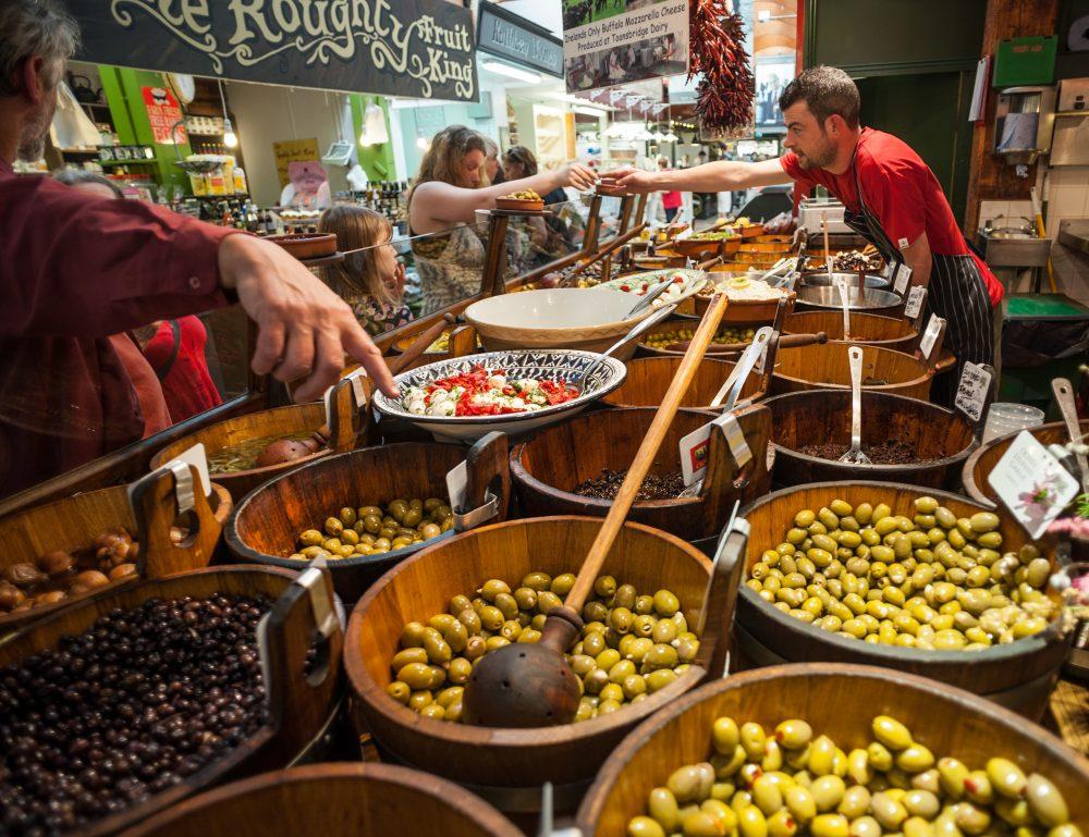 An olive stall in Cork City Market, Ireland – Gabriel12 / Shutterstock vegetarian