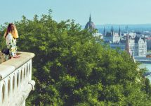 Anna looks over the Parliament building from Buda Castle, Budapest – Ben Finch
