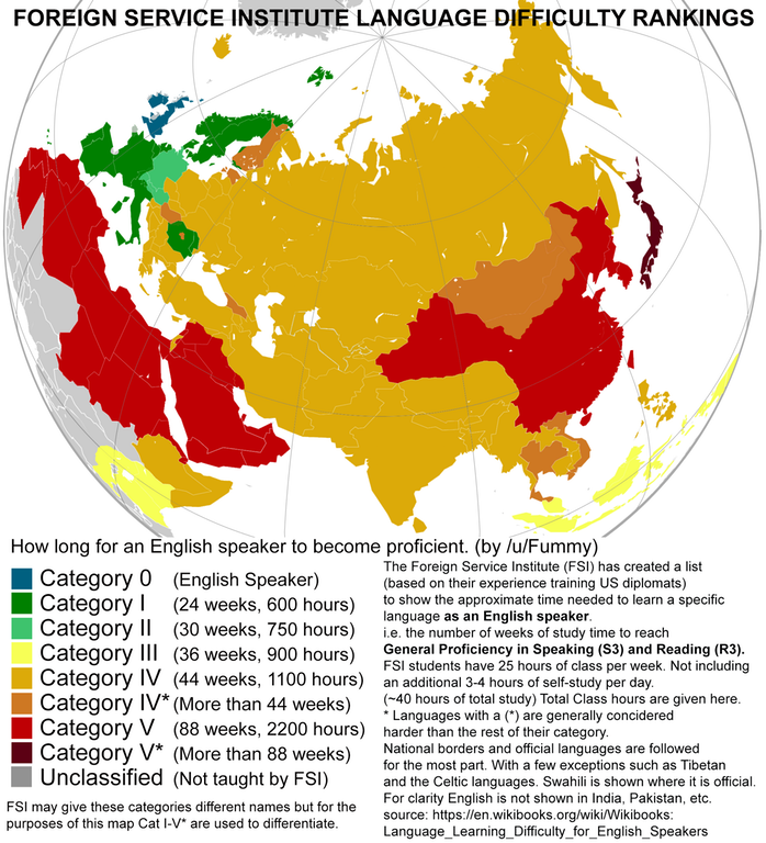 Which languages are the easiest to learn this map will show you with more than 88 weeks of intense learning japanese is the hardest language for americans gumiabroncs Image collections