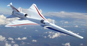 The Lockheed Martin Skunk Works' X-plane design will cruise at 55,000 feet, Mach 1.4, and will generate a gentle, supersonic heartbeat instead of a sonic boom. (PRNewsfoto/Lockheed Martin Aeronautics...) nasa Lockheed Martin supersonic