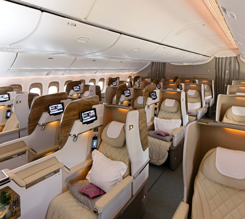 The suites also feature several world-firsts, including, 'virtual windows' using real-time fibre-optic camera technology — Emirates Arabian Travel Market, First Class Private Suite, Emirates