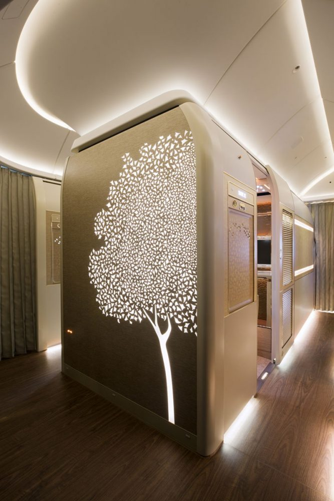 """""""Design details within the suite were inspired by luxury automotive brand Mercedes-Benz,"""" Emirates said — Emirates Arabian Travel Market, First Class Private Suite, Emirates"""