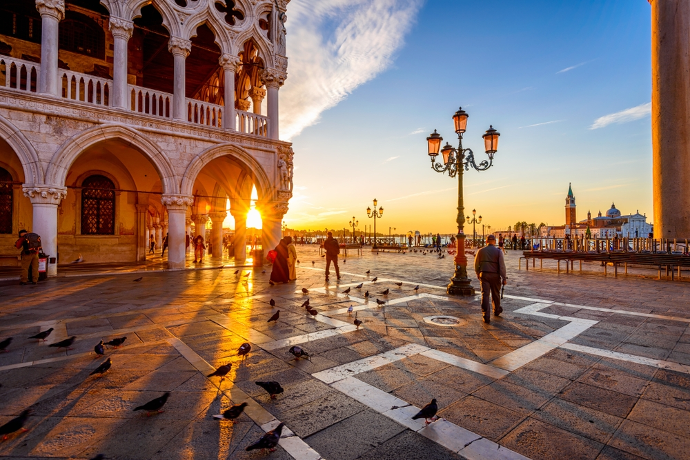 See the sunrise over St. Mark's Square, joined only by the sounds of shutters being raised — Shutterstock Venice: the most beautiful stopover you'll ever have