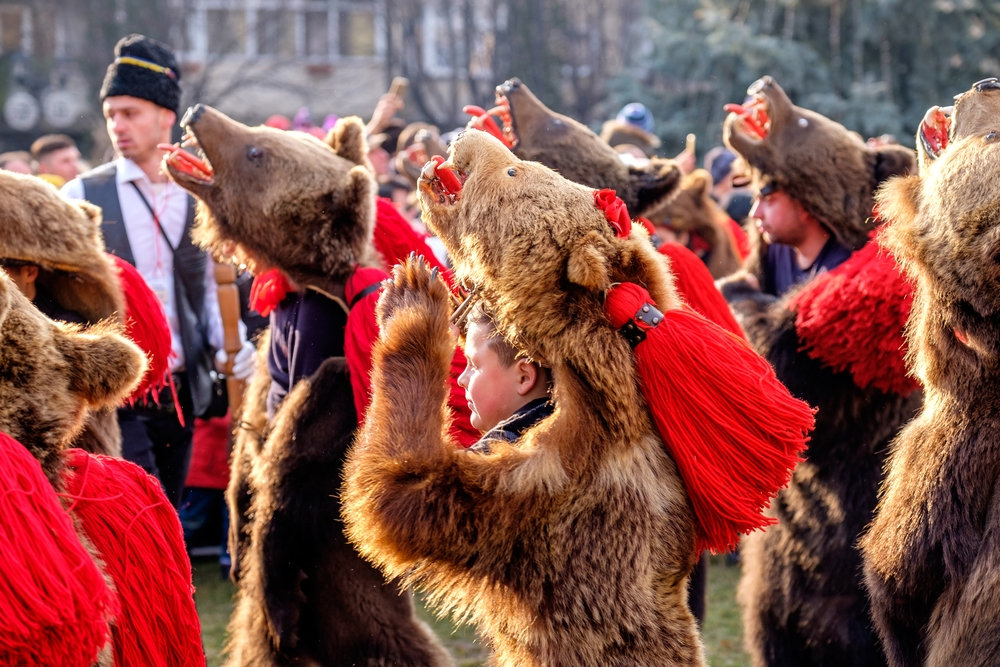 The performers dress in real bearskin (the heaviest can weigh up to 50 kg) — Augustin Lazaroiu / Shutterstock