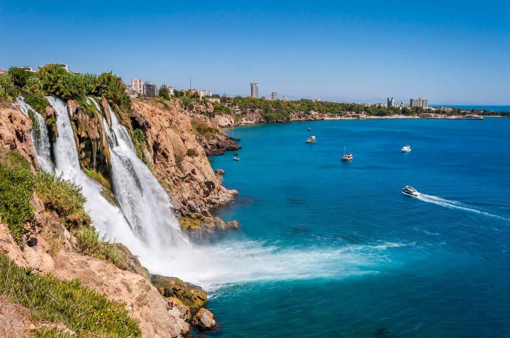 The Duden Waterfall lies nearby Lara Beach in Antalya — Shutterstock