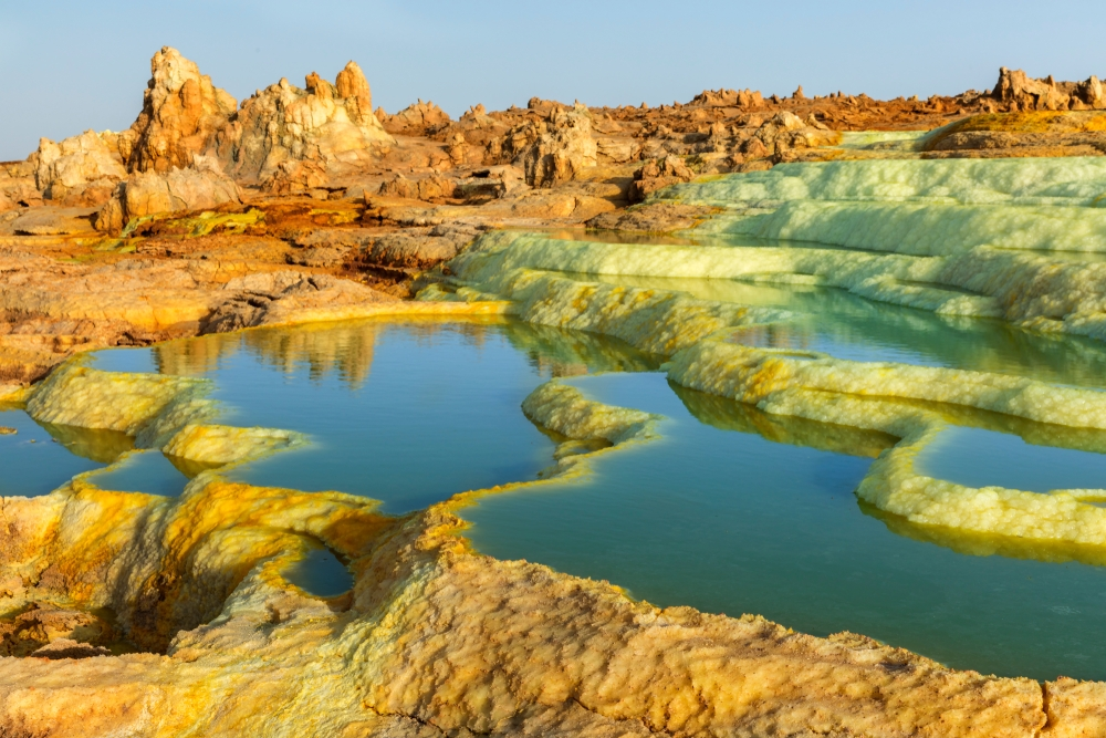 The beauty of Dallol lies in its other-worldly appearance with salt-pillars geysers, flower-like crusts and crystals — Shutterstock 6 destinations to travel in April
